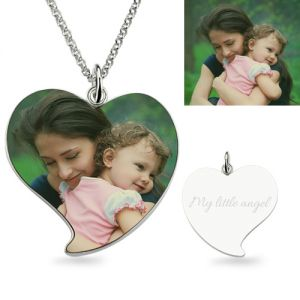 Sterling Silver Luxurious Engraved Heart Mom & Daughter Photo Necklace
