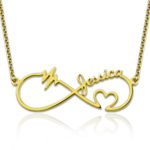 Infinity Heartbeat Necklace with Name Gold Plated Silver