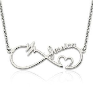 Infinity Heartbeat Necklace with Name Sterling Silver
