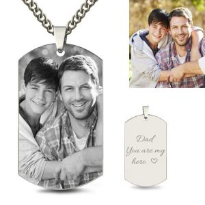 Custom Father & Son Photo Dog Tag Necklace Titanium Steel