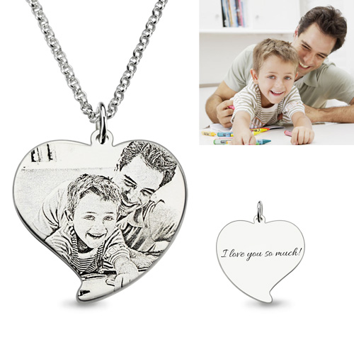 Custom Engraved Heart Photo Necklace Dad Amp Son Silver