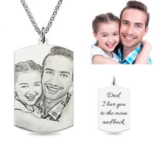 Custom Dog Tag Engraved Father & Daughter Photo Necklace