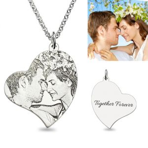Memorial Charm Heart Photo Necklace In Sterling Silver