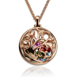 Round Cage Family Tree Birthstone Necklace In Rose Gold