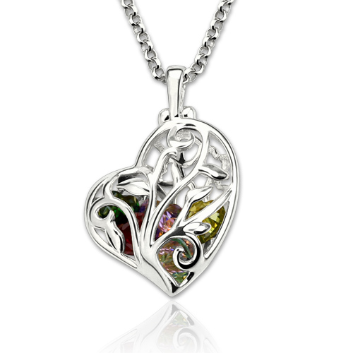 Heart Cage Family Tree Birthstone Necklace Gift For Mother