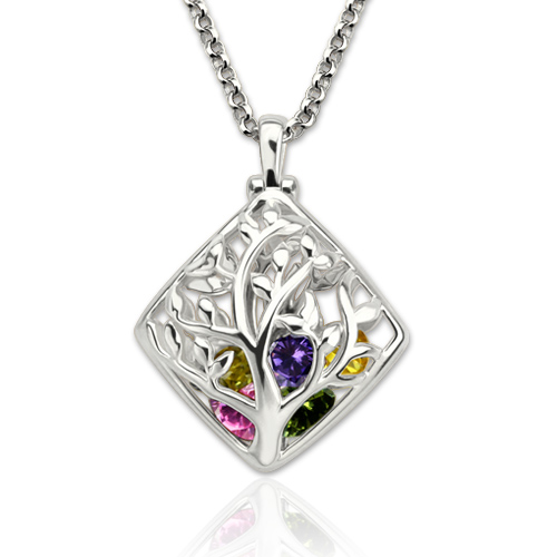 Rhombus cage family tree birthstone necklace for mothers mozeypictures Choice Image