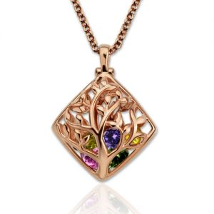 Rhombus Cage Family Tree Birthstone Necklace In Rose Gold