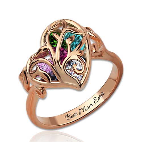 Family Tree Heart Cage Ring With Heart Birthstones Gift