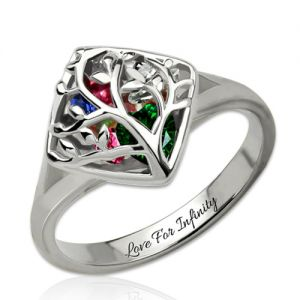 Family Tree Cage Ring With Heart Birthstones Platinum Plated
