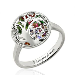 Custom Mother's Round Ring With Heart Birthstones Platinum Plated