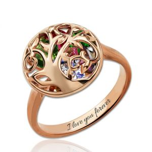Personalized Mother's Round Ring With Birthstones In Rose Gold
