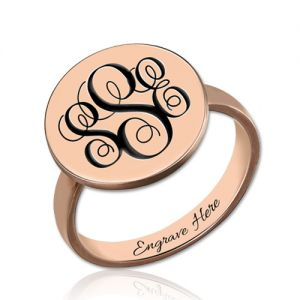 Engraved Monogram Signet Ring In Rose Gold
