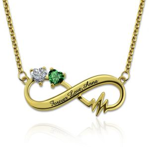 Heartbeat Infinity Necklace With Heart Birthstones Gold Plated