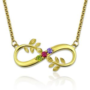 Tree Branch Infinity Necklace With Birthstones Gold Plated