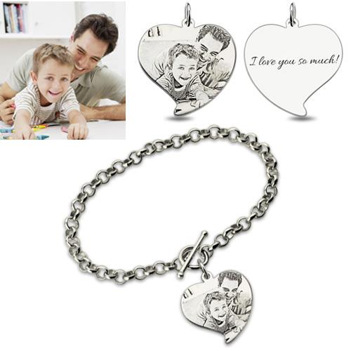 Engraved Heart Charm Father Amp Son Photo Bracelet