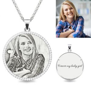 1235thumb300300g round photo engraved necklace with birthstones sterling silver aloadofball Choice Image