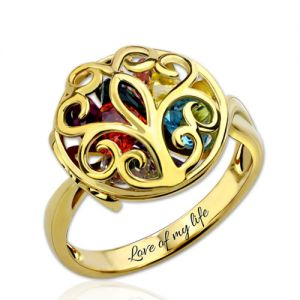 Round Cage Family Tree Ring with Birthstone Gold Plated