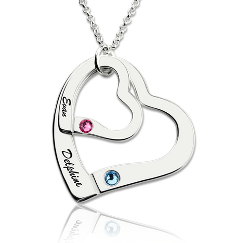 Engraved Name Double Hearts Necklace With Birthstones