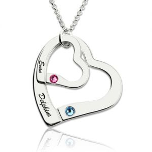 Engraved Double Hearts Necklace With Birthstones Sterling Silver