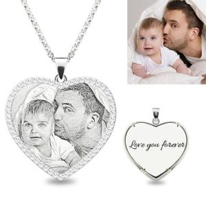 Photo Engraved Heart Shimmer Necklace Sterling Silver