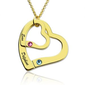 Engraved Double Hearts Necklace With Birthstones Gold Plated