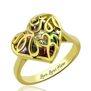 Mother's Heart Cage Ring With Birthstones Gold Plated