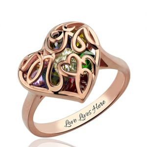 Mother's Heart Cage Ring With Birthstones In Rose Gold