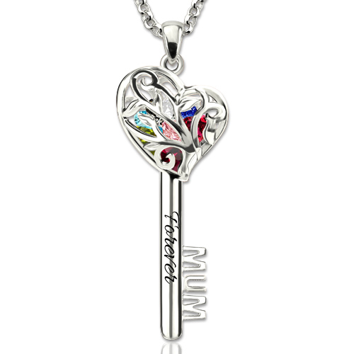 Mum Heart Cage Key Necklace With Birthstones Platinum Plated