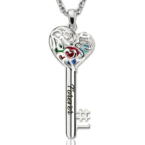 No.1 MOM Heart Cage Key Necklace With Birthstones Platinum Plated