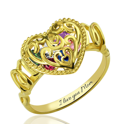Quot Mom Quot Heart Cage Ring With Birthstones Gift For Mother