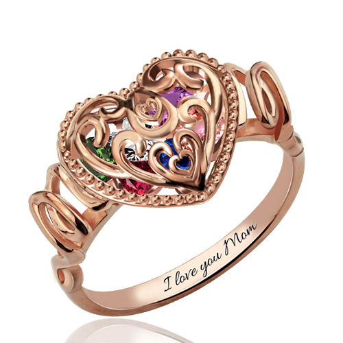 Engraved Quot Mom Quot Heart Cage Ring With Birthstones In Rose Gold