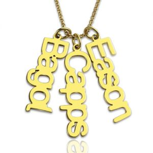 Customized 3 Vertical Names Necklace 18K Gold Plated
