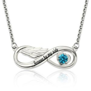 Infinity Angel Wing Necklace With Birthstone Platinum Plated