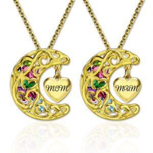 To The Moon And Back Cage MOM(MUM) Necklace Gold Plated
