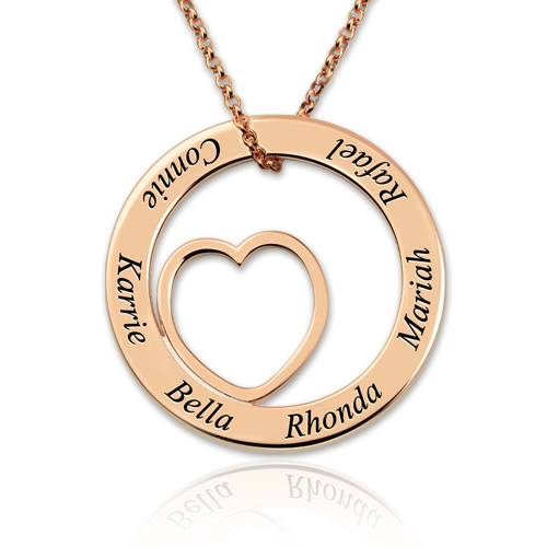 Personalized love circle necklace family name jewelry for grandma aloadofball Gallery