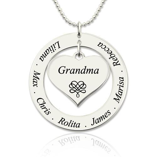 Circle grandma heart pendant necklace engraved kids names aloadofball Image collections