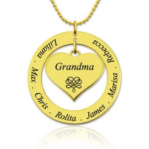 Circle Grandma's Name Necklace with Heart Pendant Gold Plated