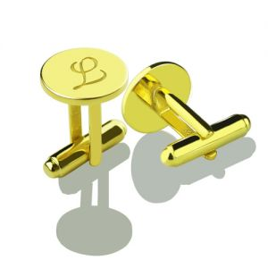 Custom Script Initial Cufflinks for Men 18k Gold Plated