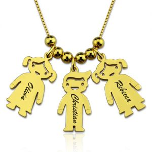 Engraved Kids Charm Name Necklace Gold Plated Silver