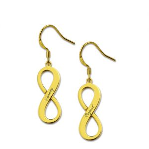 Engraved Infinity Symbol Name Earrings Gold Plated Silver