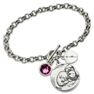 Sterling Silver Alluring New Mom's Photo-Engraved Bracelet