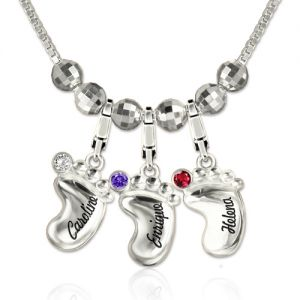 Engraved Name 3D Baby Feet Necklace with Birthstone Sterling Silver