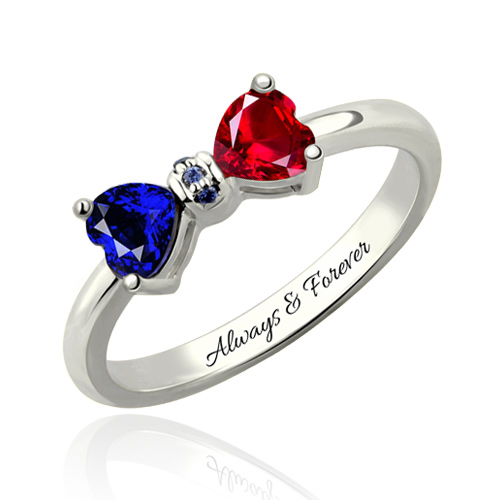 Two Stone Ring Personalized with Saying