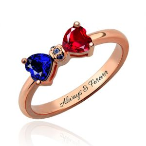 Personalized Birthstones Bow Engravable Ring In Rose Gold