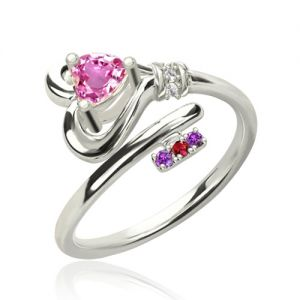 Key To Heart Ring With Birthstones Platinum Plated