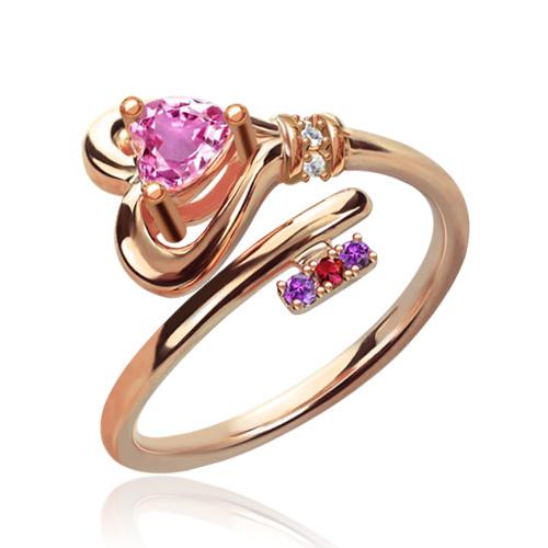 Anel com chave para o coração com pedras zodiacais em ouro rosa