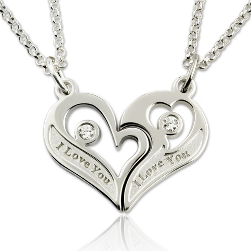 fccac5fba7 Engraved Birthstones Breakable Heart Necklace for Couples Silver
