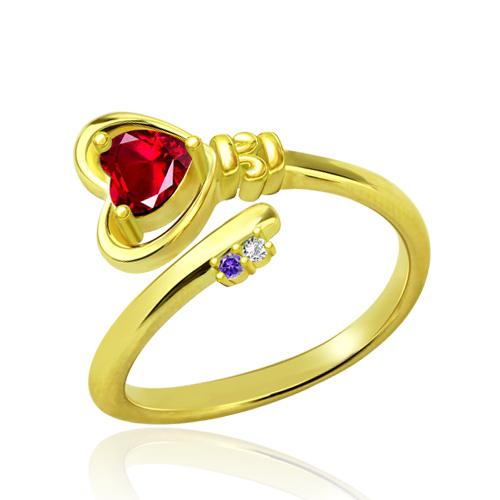 Anel com chave para o coração com pedras zodiacais banhado a ouro