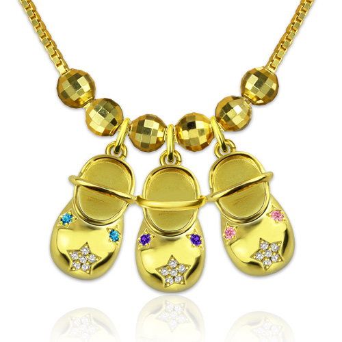 Brand-new Personalized Birthstone Baby Bootie Necklace Gift for Mom FY49