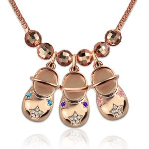 Rose Gold Engraved Baby Shoe Charm Necklace with Birthstones
